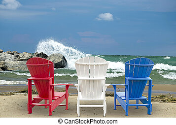 Adirondack chairs on beach - Red, white and blue Adirondack...