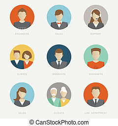 Vector company avatars flat icon style illustration