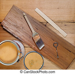 Basic Tools for Staining Wood - Closeup top view of painting...