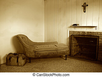 old dirty room in sepia - run down room with old sofa and...