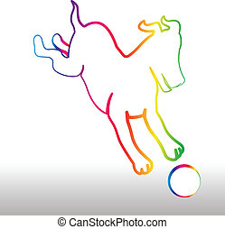 Happy rainbow dog with ball logo