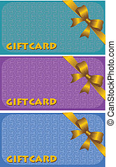 Colorful gift cards with ribbons. Vector background