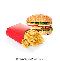 fast food isolated on white background