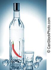 Bottle of vodka isolated on white background