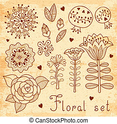 Set of floral elements isolated for your design.