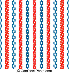 Seamless striped pattern with ropes and chains. - Seamless...