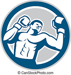 Boxer Boxing Boxing Circle Retro - Illustration of a boxer...