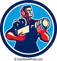 Cameraman Cradling Vintage Camera Circle Retro -...
