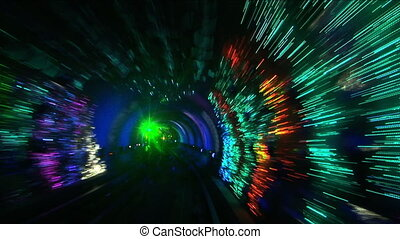 China, Shanghai, The Bund, Bund sightseeing tunnel, slow...