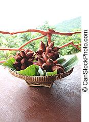 Fresh Salak snake fruit in basket. - Fresh Salak snake fruit...