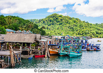Koh Kood Island, Thailand - May 26, 2014: View of Baan Ao...