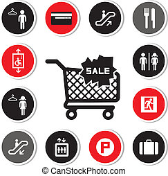 shopping mall icons set for use