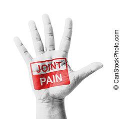 abertos, mão, levantado, conjunto, dor, sinal,...