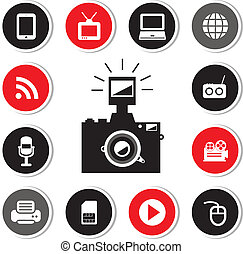 camera and technology symbol set for use