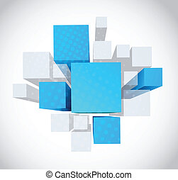 Abstract background with 3d gray and blue cubes
