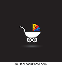 pram for infants nad kids vector icon with colorful top on...