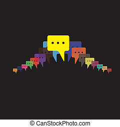 speech bubbles vector - people talking, friends chat, mobile...