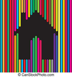 home, house, apartment icon using colorful lines - concept...