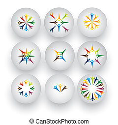 people in circle, children, kids, employees vector icons...
