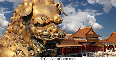 A bronze Chinese dragon statue in the Forbidden City...