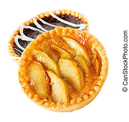 Tarts with apples and chocolate