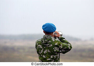 military trumpeter - a trumpeter plays before the beginning...