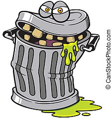 Trash can - Vector illustration of Monster Trash can