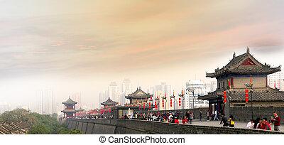 Fortifications of Xian (Sian, Xi'an) an ancient capital of...