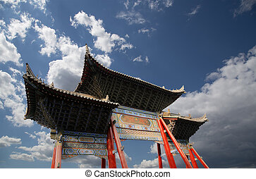 entrance to a Buddhist temple -- Xian (Sian, Xi'an), Shaanxi...