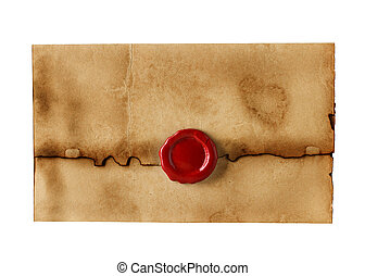 old, vintage envelope isolated