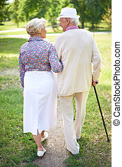 Walk in park - Back view of happy senior couple talking...