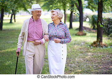 Walking and talking - Happy seniors talking while taking a...