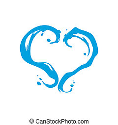 Milk or water heart vector sign - Branding identity...