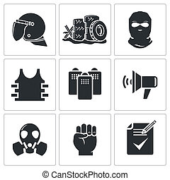 Riots in the street vector Icons set - Riots icon collection...