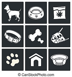 Doggy icons set - Doggy icon collection on a black...
