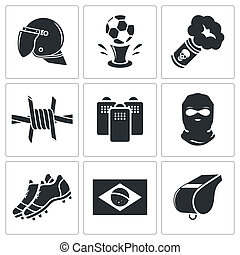 Soccer fans ultras icon collection - Soccer fans ultras...
