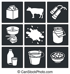 Milk production Icons set - Milk production icons set on a...