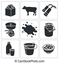 Milk production icon collection - Milk production icons set...