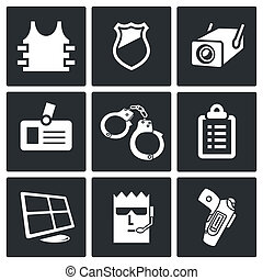 Security icon collection - Security icons set on a black...
