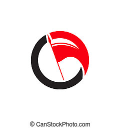 Red flag sign - Branding identity corporate logo isolated on...