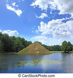 Park near Cottbus - Pyramid on water in park of Branitz in...