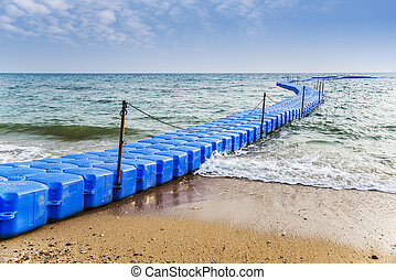 Plastic Dock blue in the sea