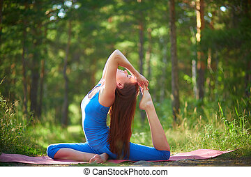 Stretching - Photo of active and fit girl doing stretching...