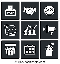 Election Icons collection - Election icon collection on a...