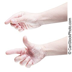 Modern gesturing - Set of two hands gesturing for zooming on...
