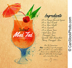 Mai Tai cocktails watercolor kraft - Mai Tai cocktails drawn...