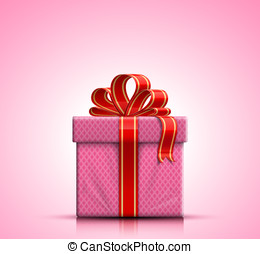 Pink gift box with ribbon and bow