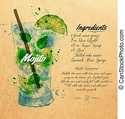 Mojito cocktails watercolor kraft - Mojito cocktails drawn...