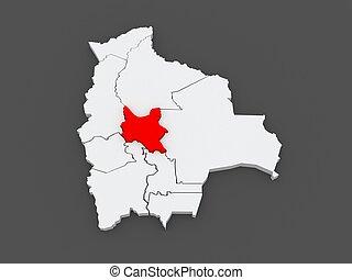 Map of Cochabamba. Bolivia. 3d