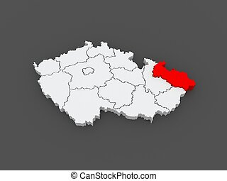 Map of Moravian. Czech Republic. 3d